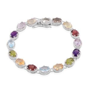 Multi Gemstone Sterling Silver Tennis Bracelet (8.00 In) TGW 9.60 cts.