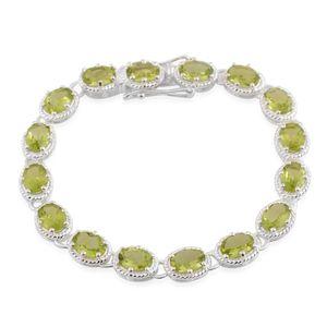 Hebei Peridot Sterling Silver Tennis Bracelet (6.50 In) TGW 9.60 cts.