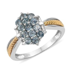 Montana Sapphire, White Topaz 14K YG and Platinum Over Sterling Silver Cluster Ring (Size 7.0) TGW 1.41 cts.