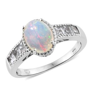 Ethiopian Welo Opal, White Topaz Platinum Over Sterling Silver Ring (Size 7.0) TGW 2.87 cts.