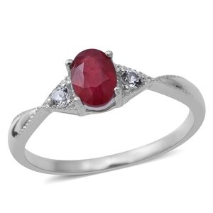 Niassa Ruby, White Topaz Sterling Silver Ring (Size 8.0) TGW 1.30 cts.