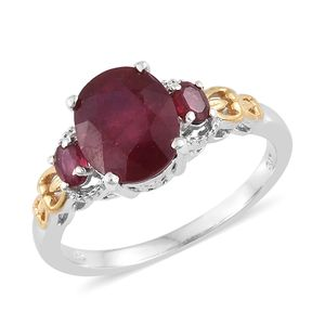 Niassa Ruby 14K YG and Platinum Over Sterling Silver Ring (Size 7.0) TGW 5.40 cts.