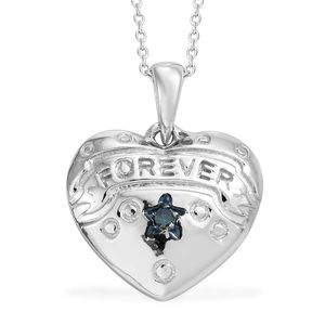Blue Diamond (IR) Platinum Over Sterling Silver Accent Heart Pendant With Chain (20 in)