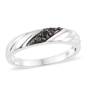 Black Diamond (IR) Platinum Over Sterling Silver Men's Ring (Size 12.0) TDiaWt 0.25 cts, TGW 0.25 cts.