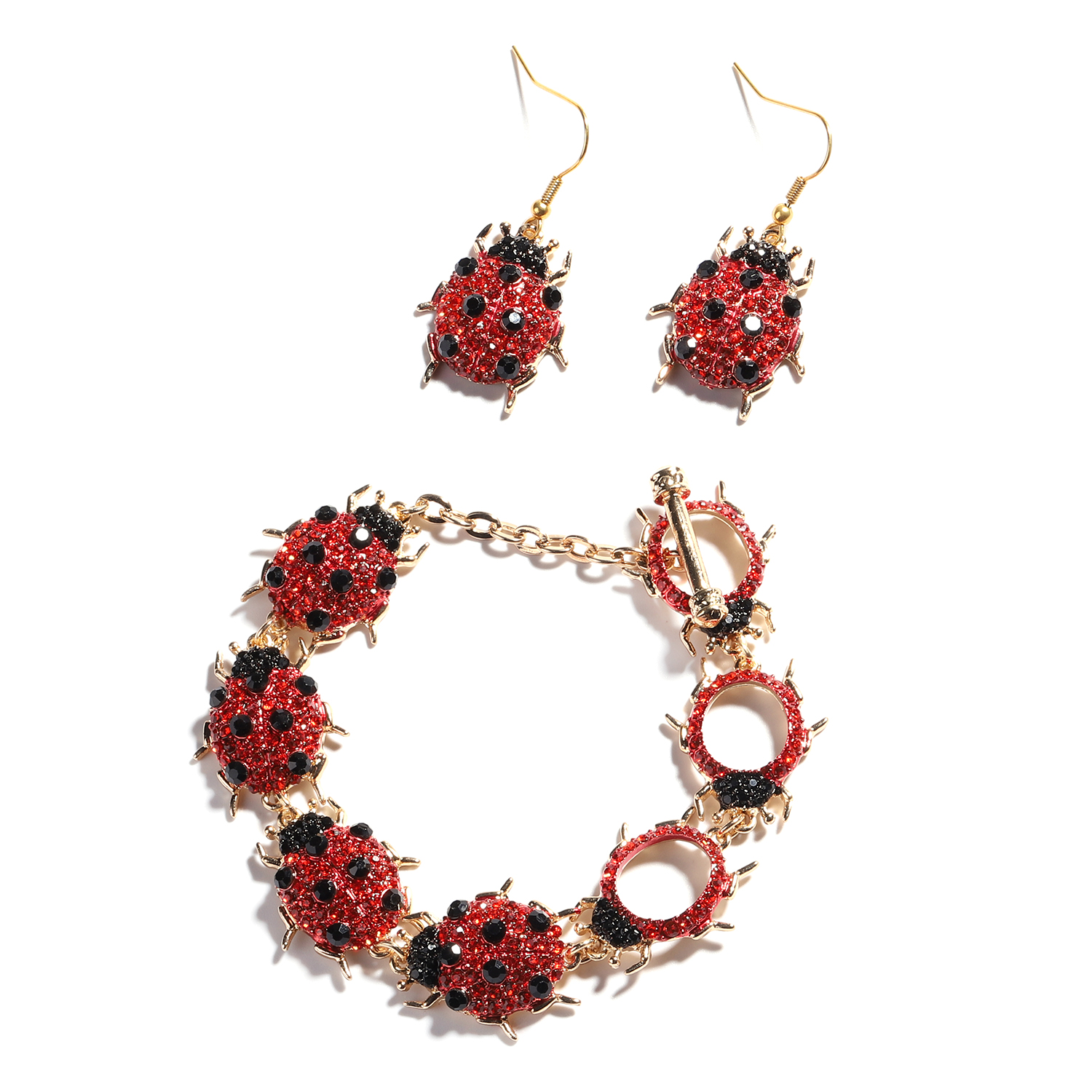TLV Red and Black Austrian Crystal Goldtone & ION Plated YG Stainless Steel Dangle Ladybug Earrings and Bracelet (6.50 In)