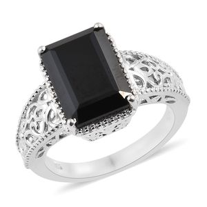 Thai Black Spinel Platinum Over Sterling Silver Openwork Ring (Size 7.0) TGW 8.40 cts.
