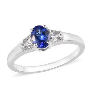 Premium AAA Tanzanite, Cambodian Zircon Platinum Over Sterling Silver Ring (Size 10.0) TGW 0.98 cts.