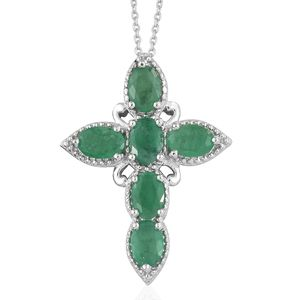 Kagem Zambian Emerald Platinum Over Sterling Silver Cross Pendant With Chain (20 in) TGW 2.70 cts.