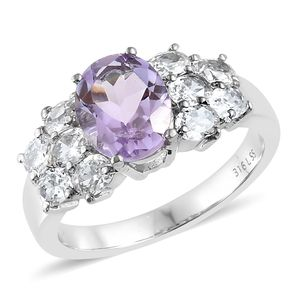 Rose De France Amethyst, Simulated Diamond Stainless Steel Ring (Size 7.0) TGW 5.40 cts.