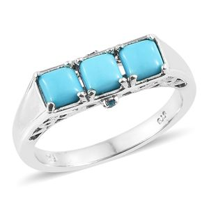 Arizona Sleeping Beauty Turquoise, Malgache Neon Apatite Platinum Over Sterling Silver Trilogy Ring (Size 7.0) TGW 1.60 cts.