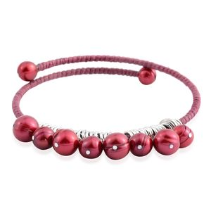Freshwater Pearl - Red Stainless Steel Bracelet (9.00 In)