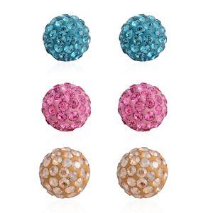 Multi Color Austrian Crystal Sterling Silver Set of 3 Earrings
