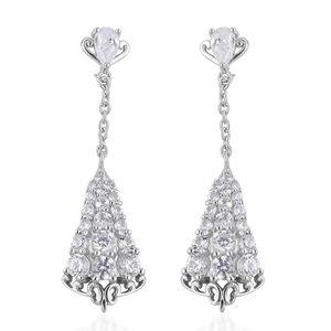 Natural White Zircon Sterling Silver Dangle Earrings TGW 2.50 cts.