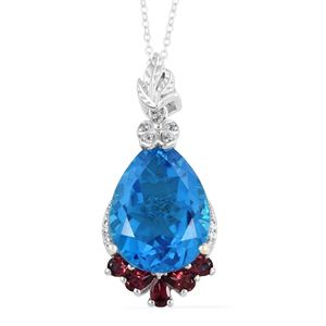 Caribbean Quartz, Multi Gemstone Platinum Over Sterling Silver Pendant With Chain (20 in) TGW 19.08 cts.