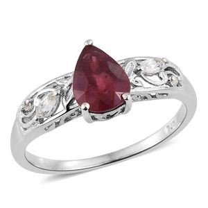 Niassa Ruby, White Topaz Platinum Over Sterling Silver Ring (Size 7.0) TGW 2.23 cts.