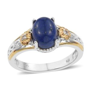 KARIS Collection - Lapis Lazuli, White Topaz ION Plated 18K YG and Platinum Bond Brass Ring (Size 7.0) TGW 3.26 cts.