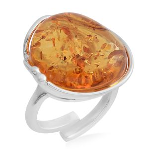Baltic Amber Sterling Silver Ring (Size 7.0)