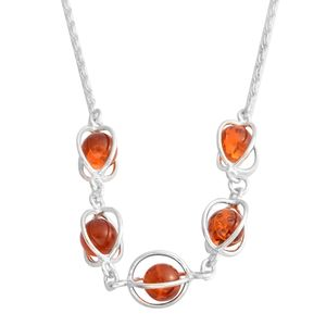 Baltic Amber Sterling Silver Caged Necklace (18 in)