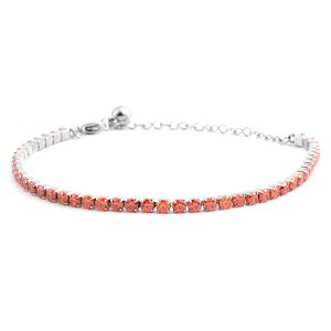 Simulated Orange Diamond Stainless Steel Tennis Bracelet (7.00 In) TGW 15.00 cts.