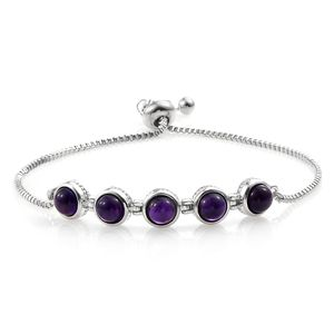 One Time Only KARIS Collection - Amethyst Platinum Bond Brass & Stainless Steel Bolo Bracelet (Adjustable) TGW 4.85 cts.