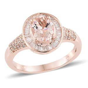 Luxury For Less Marropino Morganite, Diamond Vermeil RG Over Sterling Silver Ring (Size 8.0) TDiaWt 0.45 cts, TGW 2.00 cts.