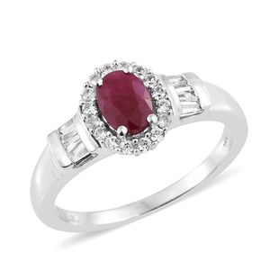 Burmese Ruby, Cambodian Zircon Platinum Over Sterling Silver Ring (Size 5.0) TGW 1.70 cts.