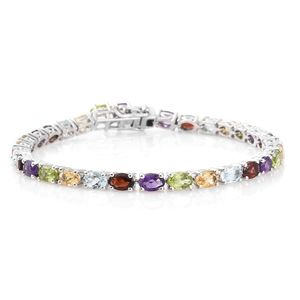 Multi Gemstone Platinum Over Sterling Silver Bracelet (8.00 In) TGW 14.66 cts.