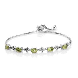 KARIS Collection - Hebei Peridot Platinum Bond Brass & Stainless Steel Bolo Bracelet (Adjustable) TGW 2.38 cts.