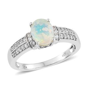 Ethiopian Welo Opal, Cambodian Zircon Platinum Over Sterling Silver Ring (Size 10.0) TGW 1.49 cts.