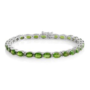 Russian Diopside Platinum Over Sterling Silver Bracelet (7.00 In) TGW 15.50 cts.