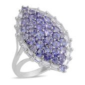 Tanzanite, White Topaz Platinum Over Sterling Silver Ring (Size 7.5) TGW 4.70 cts.