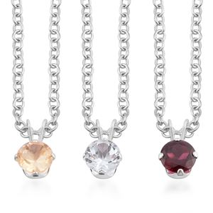 Multi Gemstone Sterling Silver Set of 3 Pendant With Chain TGW 2.67 cts.