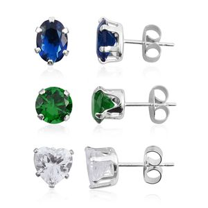 Set of 3 Simulated Multi Gemstone Sterling Silver Stud Earrings TGW 3.00 cts.