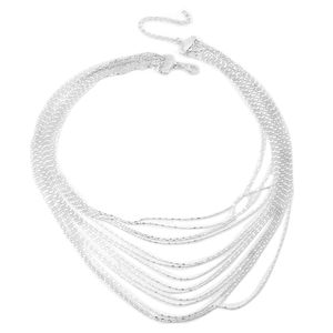 Sterling Silver Tube and Ball Multi Strand Drape Necklace (16-19in) (22.3 g)
