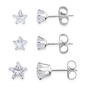 Simulated White Diamond Sterling Silver Set of 3 Stud Earrings TGW 2.05 cts.