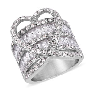 Simulated White Diamond, White Austrian Crystal Stainless Steel Ring (Size 8.0) TGW 10.00 cts.