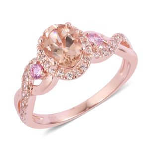 Marropino Morganite, Multi Gemstone Vermeil RG Over Sterling Silver Ring (Size 8.0) TGW 1.88 cts.