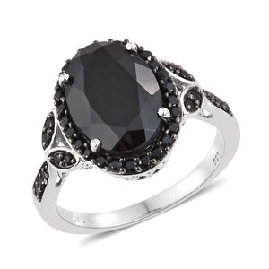 Dan's Collector Deal Thai Black Spinel Platinum Over Sterling Silver Ring (Size 10.0) TGW 8.32 cts.