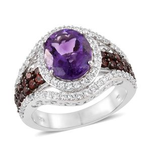 Moroccan Amethyst, Multi Gemstone Platinum Over Sterling Silver Ring (Size 7.0) TGW 7.63 cts.