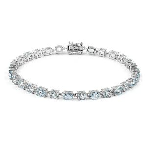 Espirito Santo Aquamarine Sterling Silver Tennis Bracelet (8.00 In) TGW 8.55 cts.