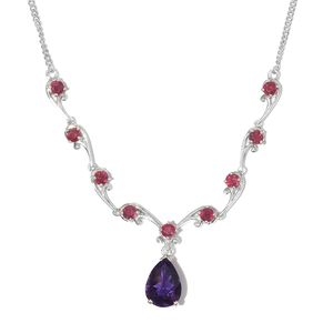Moroccan Amethyst, Niassa Ruby Platinum Over Sterling Silver Drop Necklace (18-20 in) TGW 8.70 cts.