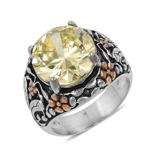 Simulated Yellow Sapphire, Black Oxidized, ION Plated YG and Stainless Steel Floral Ring (Size 8.0) TGW 3.00 cts.