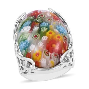 Murano Millefiori Glass Stainless Steel Ring (Size 8.0) TGW 15.00 cts.