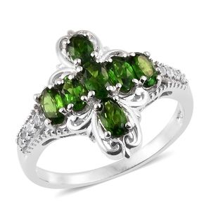 Russian Diopside, Cambodian Zircon Platinum Over Sterling Silver Cross Ring (Size 5.0) TGW 1.63 cts.