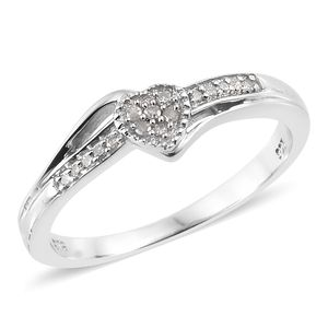Diamond Platinum Over Sterling Silver Heart Ring (Size 9.0) TDiaWt 0.10 cts, TGW 0.10 cts.