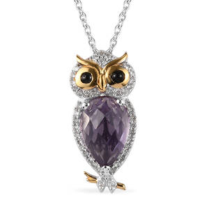 GP Rose De France Amethyst, Multi Gemstone 14K YG and Platinum Over Sterling Silver Owl Pendant With Chain (20 in) TGW 3.77 cts.