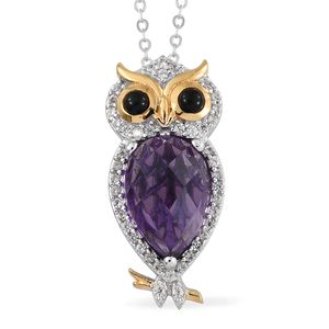 GP Amethyst, Multi Gemstone 14K YG and Platinum Over Sterling Silver Owl Pendant With Chain (20 in) TGW 3.32 cts.