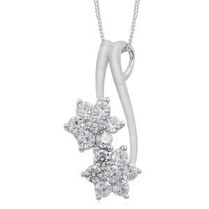 Natural White Zircon Platinum Over Sterling Silver Floral Pendant With Chain (20 in) TGW 2.40 cts.