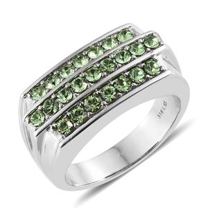 Stainless Steel Men's Ring (Size 12.0) Made with SWAROVSKI Peridot Crystal TGW 1.45 cts.