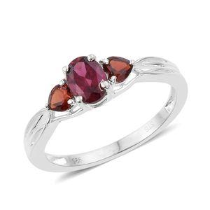 Orissa Rhodolite Garnet, Mozambique Garnet Sterling Silver Ring (Size 8.0) TGW 1.56 cts.